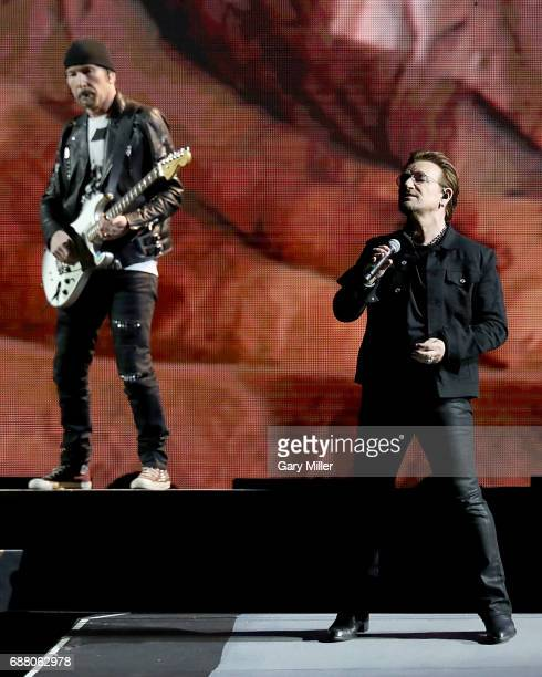 Bono and The Edge of U2 perform on The Joshua Tree Tour at NRG Stadium on May 24 2017 in Houston Texas