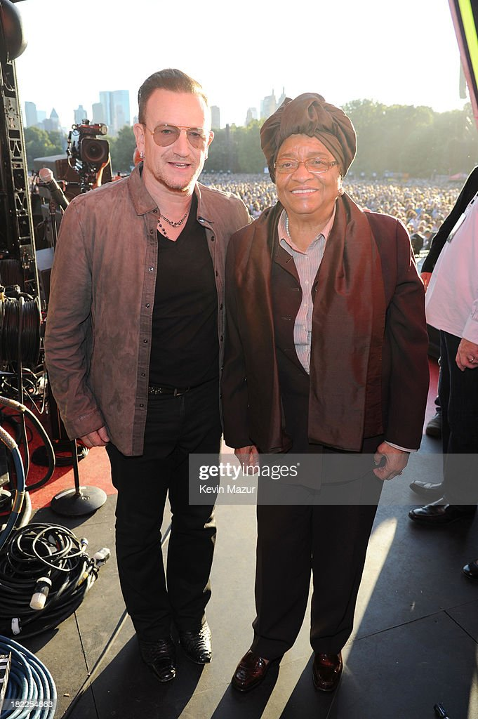Bono (L) and the president of Liberia Ellen Johnson Sirleaf appear at the 2013 Global Citizen Festival in Central Park to end extreme poverty on September 28, 2013 in New York City.