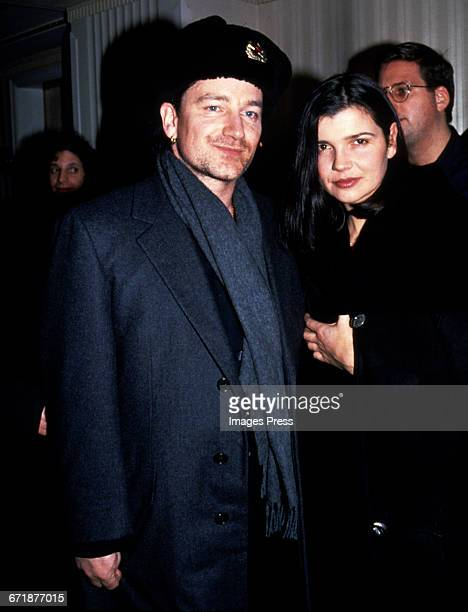 Bono and wife Ali Hewson attend the 1994 Rock and Roll Hall of Fame Induction Ceremony circa 1994 in New York City
