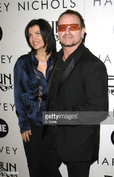 Bono and wife Ali Hewson during Edun One Launch Party at Harvey Nichols in London Great Britain