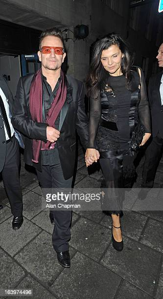 Bono and wife Ali Hewson sighting at Brian O'Driscoll Fundraser at The Grosvenor House Hotel on March 18 2013 in London England
