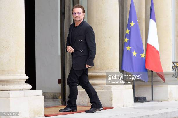Bono arrives at Elysee Palace for a meeting with French President Emmanuel Marcon on July 24 2017 in Paris France Durning the meeting they will talk...