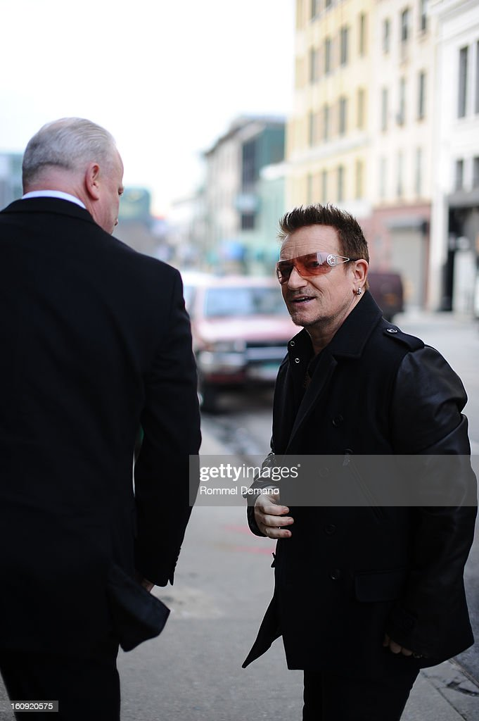 <a gi-track='captionPersonalityLinkClicked' href=/galleries/search?phrase=Bono+-+Singer&family=editorial&specificpeople=167279 ng-click='$event.stopPropagation()'>Bono</a> arrives at the Edun Show on February 7, 2013 in New York City.