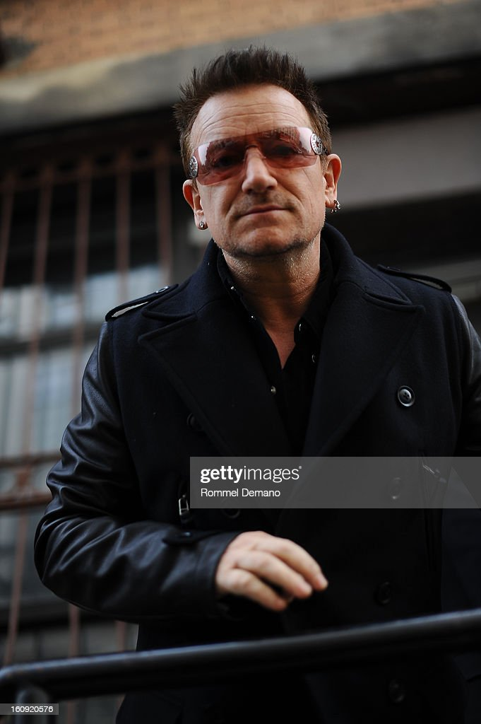 Bono arrives at the Edun Show on February 7, 2013 in New York City.