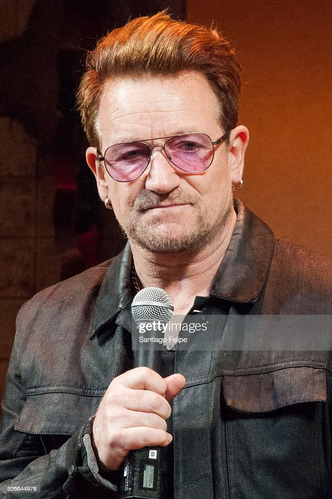 Bono attends Bono Visits 'Eclipsed' To Launch A Dedications Series In Honor Of Abducted Chibok Girls Of Northern Nigeria at Golden Theatre on April 30, 2016 in New York City.
