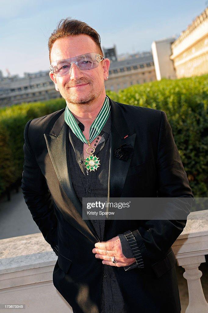 Bono attends 'Commandeur de l'Ordre des Arts et Lettres' where he was honored at the Ministere de la Culture on July 16, 2013 in Paris, France.