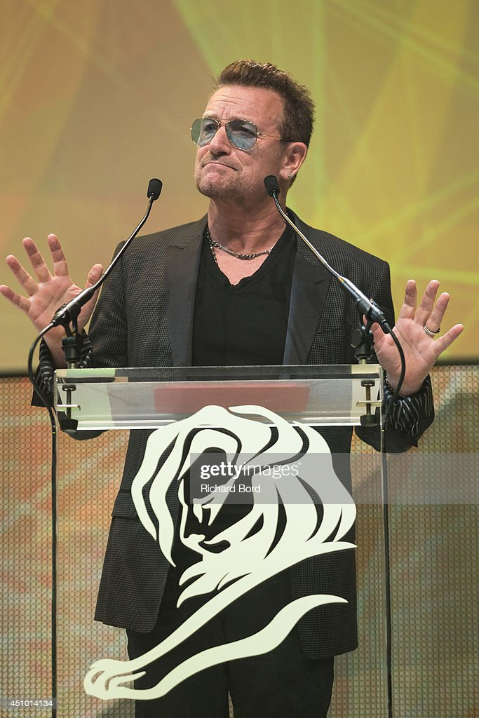 <a gi-track='captionPersonalityLinkClicked' href=/galleries/search?phrase=Bono+-+Singer&family=editorial&specificpeople=167279 ng-click='$event.stopPropagation()'>Bono</a> attends the Cannes Lions Awards Ceremony at Palais des Festivals on June 21, 2014 in Cannes, France.