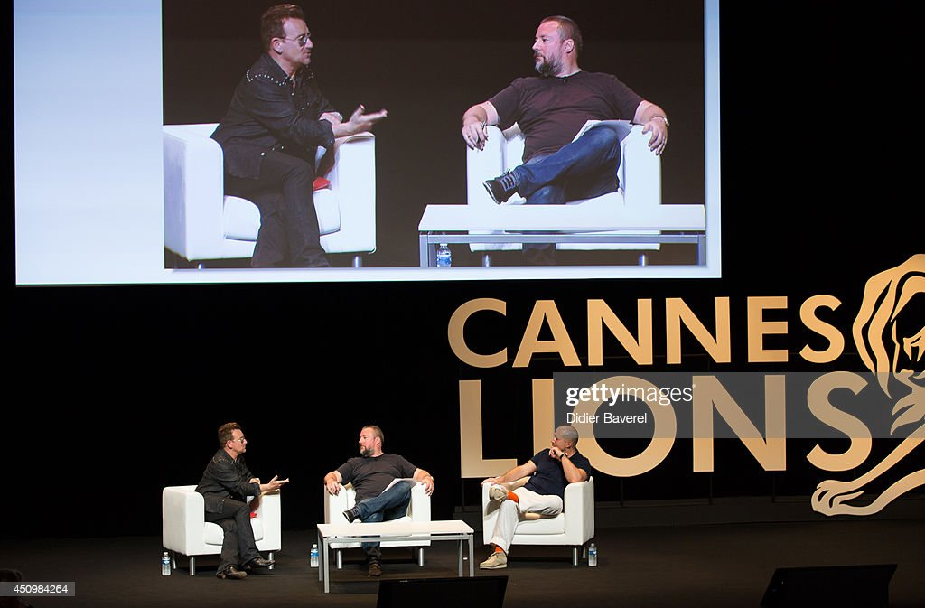 <a gi-track='captionPersonalityLinkClicked' href=/galleries/search?phrase=Bono+-+Singer&family=editorial&specificpeople=167279 ng-click='$event.stopPropagation()'>Bono</a> attends the conversation with Sir Jonathan Ive (R) at the 2014 Cannes Lions on June 21, 2014 in Cannes, France.