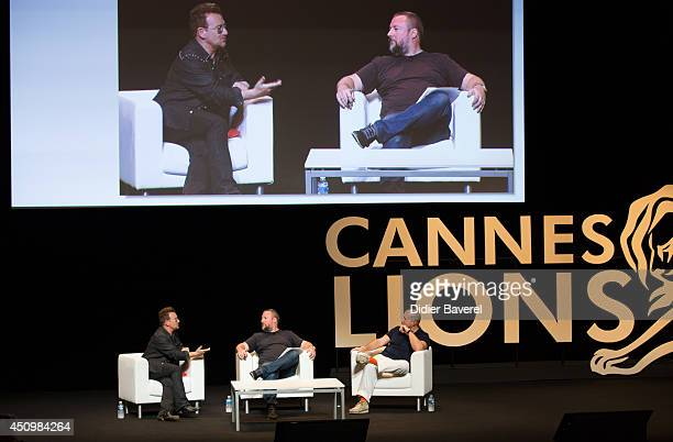 Bono attends the conversation with Sir Jonathan Ive at the 2014 Cannes Lions on June 21 2014 in Cannes France
