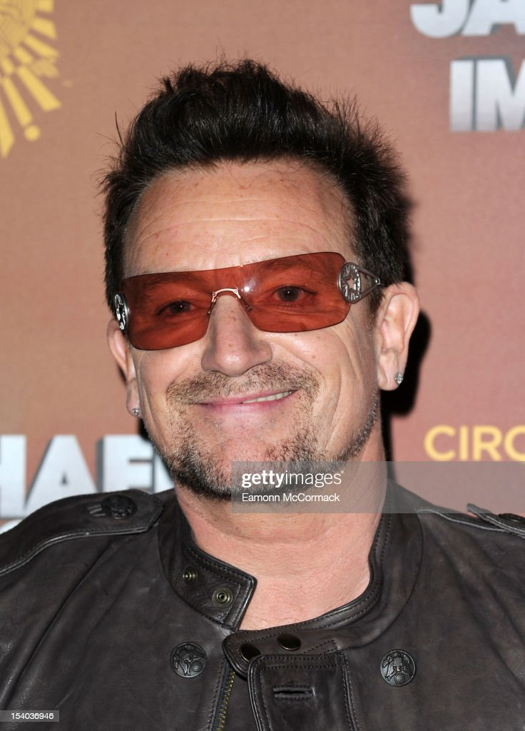 <a gi-track='captionPersonalityLinkClicked' href=/galleries/search?phrase=Bono+-+Singer&family=editorial&specificpeople=167279 ng-click='$event.stopPropagation()'>Bono</a> attends the opening night of Cirque Du Soleil's 'Michael Jackson The Immortal World Tour' at 02 Arena on October 12, 2012 in London, England.