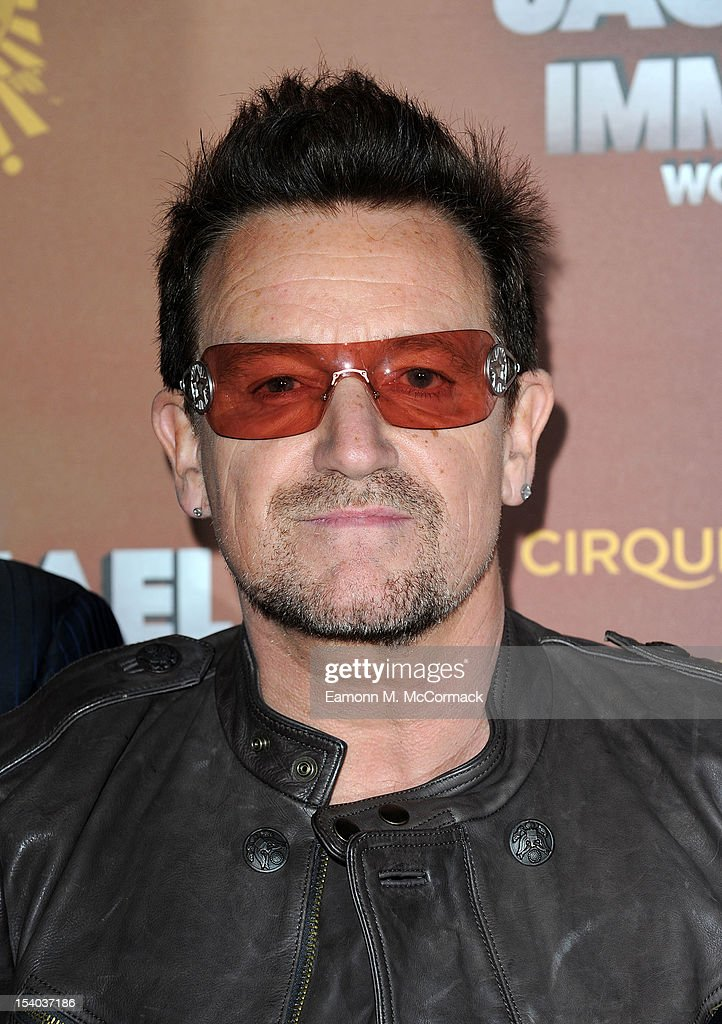 <a gi-track='captionPersonalityLinkClicked' href=/galleries/search?phrase=Bono+-+Singer&family=editorial&specificpeople=167279 ng-click='$event.stopPropagation()'>Bono</a> attends the opening night of Cirque Du Soleil's 'Michael Jackson: The Immortal World Tour' at 02 Arena on October 12, 2012 in London, England.