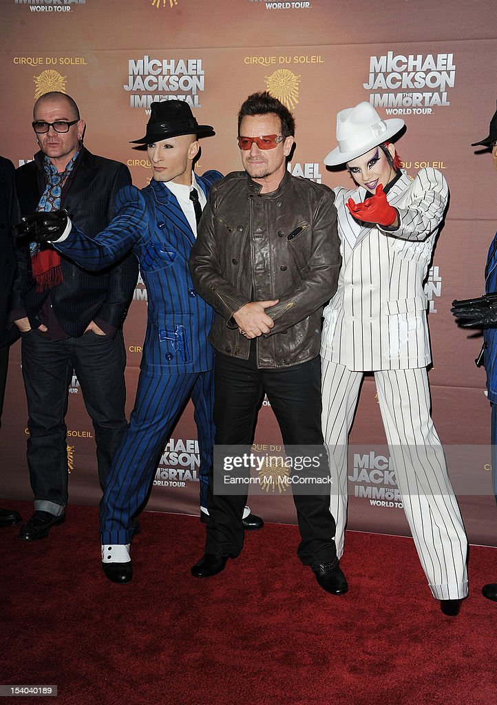 Bono attends the opening night of Cirque Du Soleil's 'Michael Jackson The Immortal World Tour' at 02 Arena on October 12, 2012 in London, England.