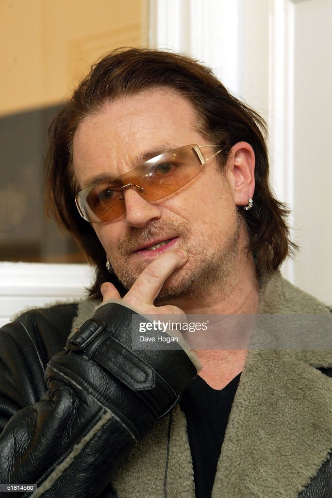 Bono attends the opening of the new collection by the artist Guggi at the Osbourne Samuel Gallery on December 1, 2004 in London.