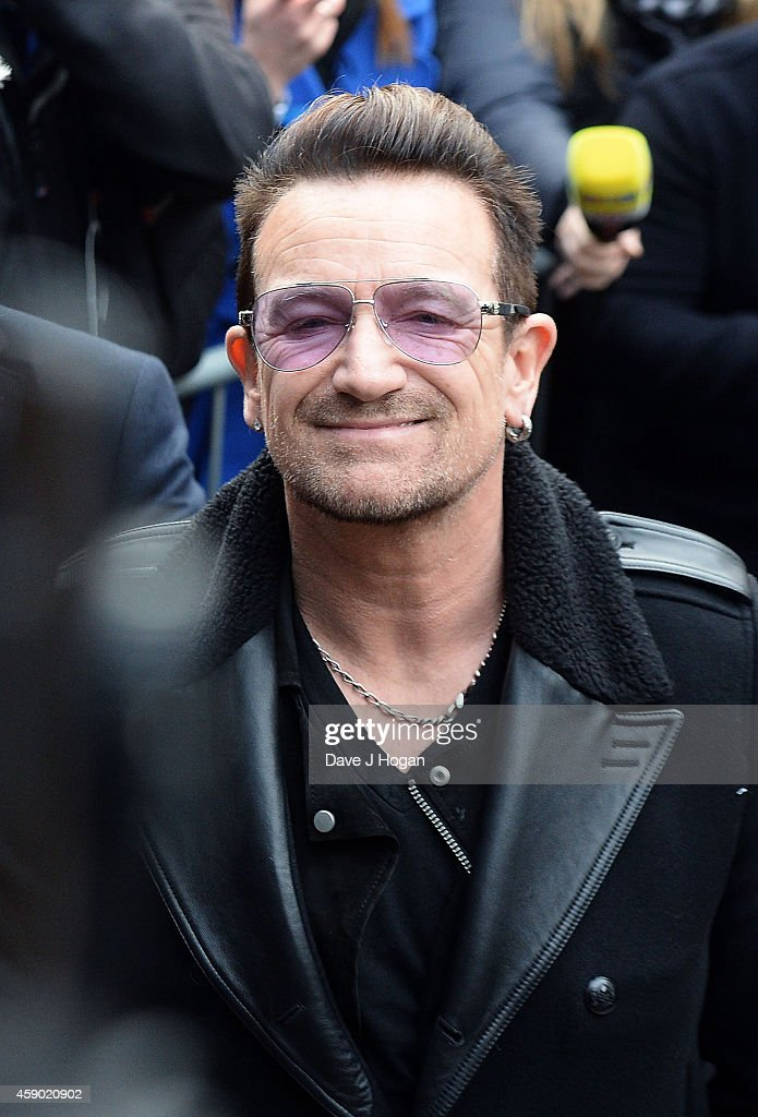 <a gi-track='captionPersonalityLinkClicked' href=/galleries/search?phrase=Bono&family=editorial&specificpeople=167279 ng-click='$event.stopPropagation()'>Bono</a> attends to record the Band Aid 30 single on November 15, 2014 in London, England.
