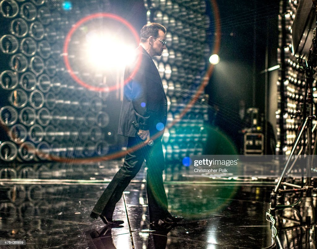 Bono backstage during the Oscars held at Dolby Theatre on March 2, 2014 in Hollywood, California.