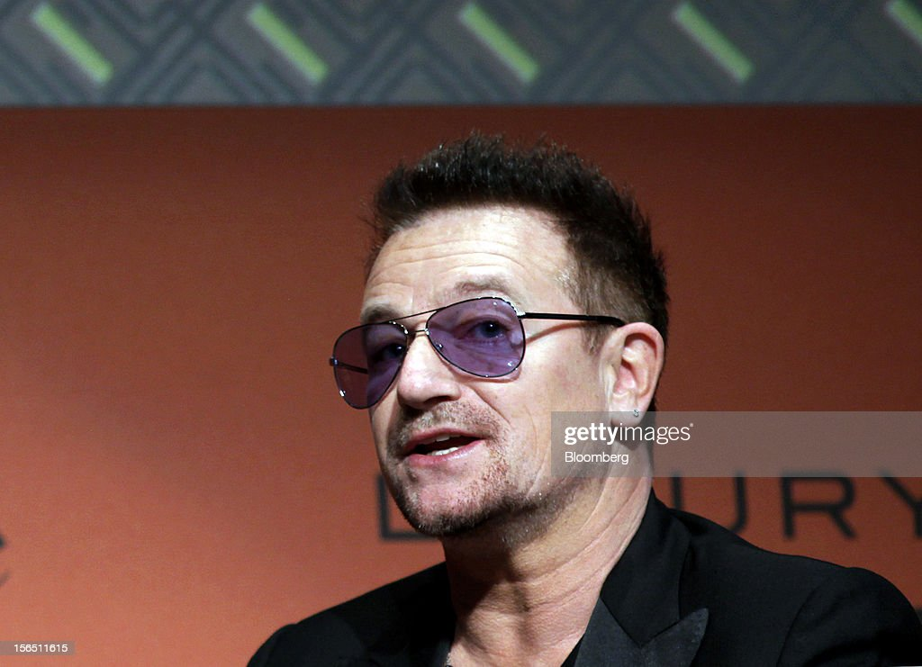 Bono, co-founder of clothing line EDUN, speaks during the 2012 Luxury Roma conference at the Rome Cavalieri hotel in Rome, Italy, on Friday, Nov. 16, 2012. The euro-area economy succumbed to a recession for the second time in four years as governments imposed tougher budget cuts and leaders struggled to contain the debt crisis that broke out in October 2009. Photographer: Alessia Pierdomenico/Bloomberg via Getty Images