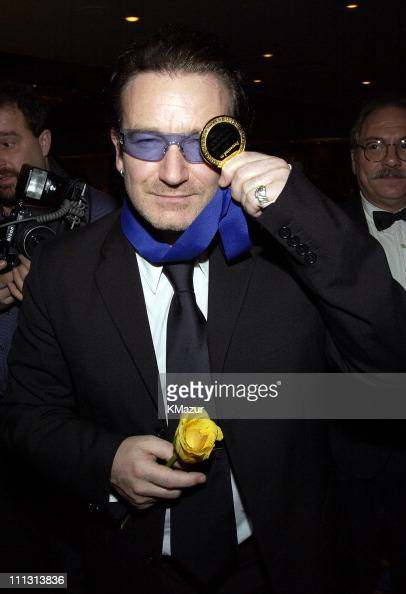 Bono during Bono Honored with Humanitarian Laureate Award by the Simon Wiesenthal Center at Marriott Marquis Hotel in New York City New York United...