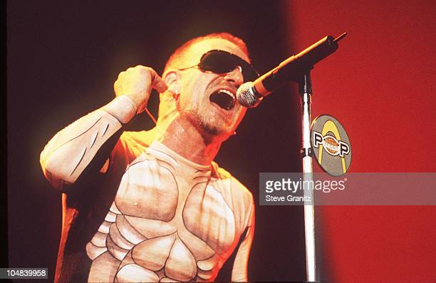Bono during U2 in Concert at Jack Murphy Stadium in San Diego California United States