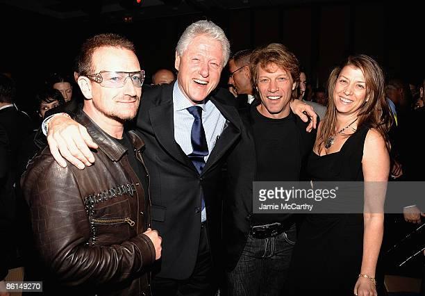 Bono Former President Bill Clinton Jon Bon Jovi and Dorothea Bon Jovi attend the Food Bank For New York City's Sixth Annual CanDo Awards at Abigail...