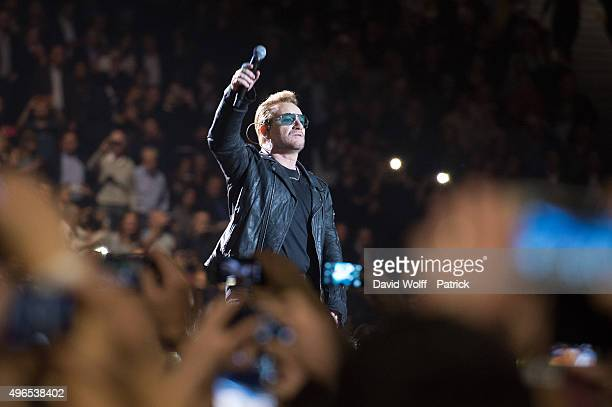 Bono from U2 performs at AccorHotels Arena on November 10 2015 in Paris France