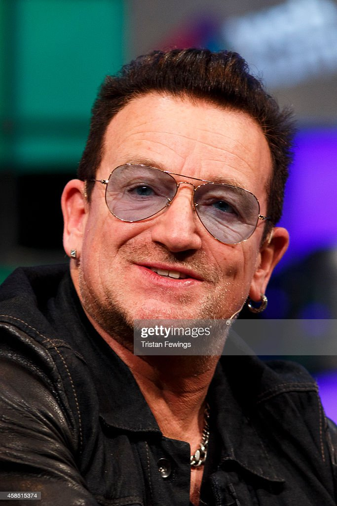 Bono joins Bill McGlashan, Eric Wahlfors, Dana Brunetti and David Carr (not pictured) for a panel discussion on the Web Summit Centre Stage at the 2014 Web Summit on November 6, 2014 in Dublin, Ireland.