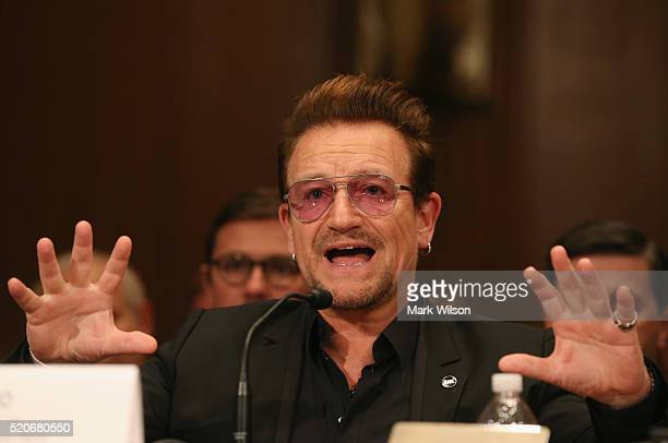 Bono lead singer of the rock band U2 and cofounder of ONE a nonprofit nonpartisan advocacy organization testifies during a Senate Appropriations...