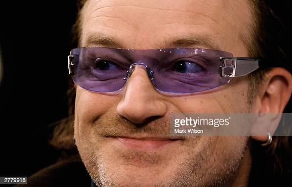 Bono lead singer of the rock group U2 speaks about AIDs December 3 2003 in Washington DC The Kaiser Foundation hosted a seminar on the US and global...