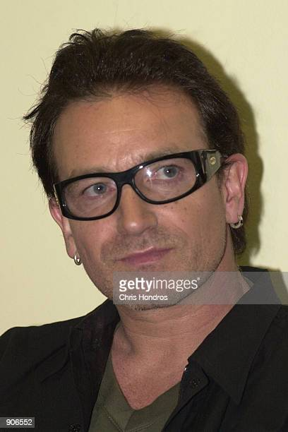 Bono lead singer of the rock music band U2 appears at the United Nations Millennium Summit Sept 7 at the UN Bono brought a petition signed by some 21...