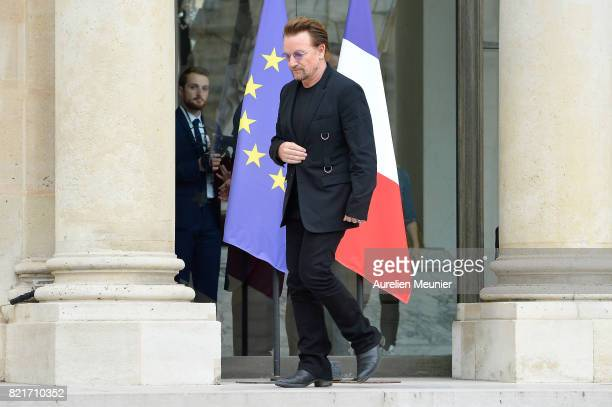 Bono leaves the Elysee Palace after a meeting with French President Emmanuel Marcon on July 24 2017 in Paris France During the meeting they will talk...