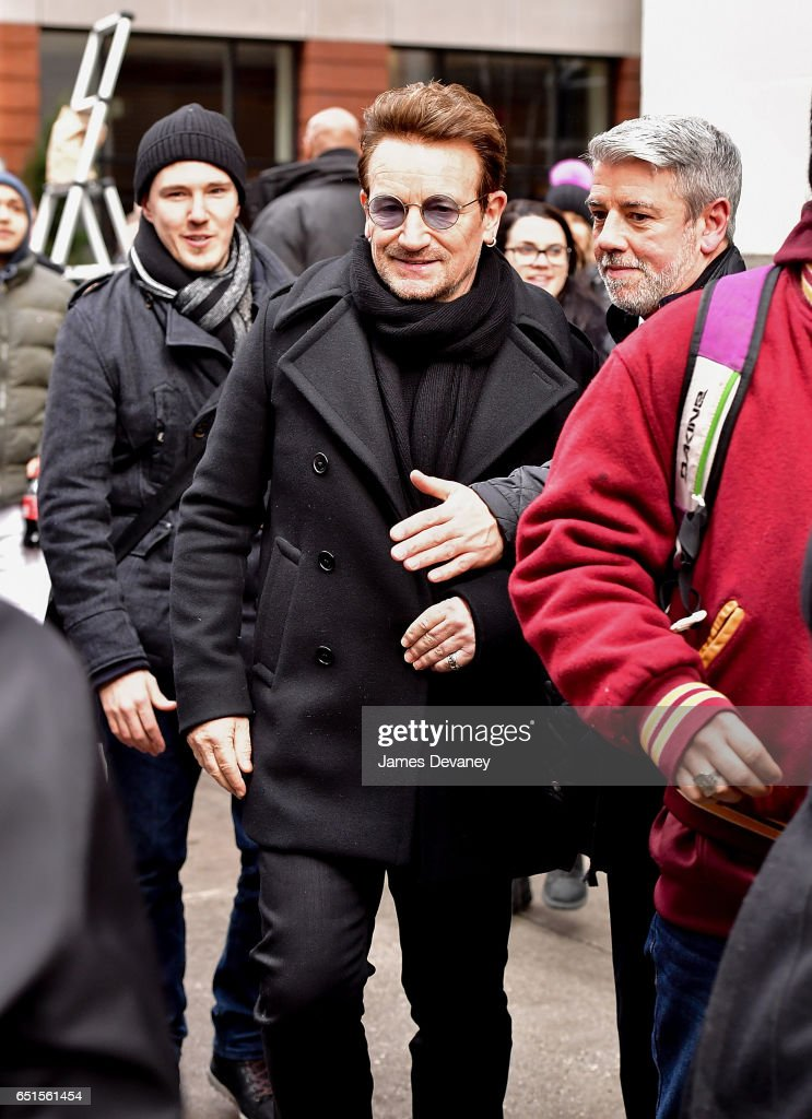 Bono leaves Upland restaurant on March 10, 2017 in New York City.