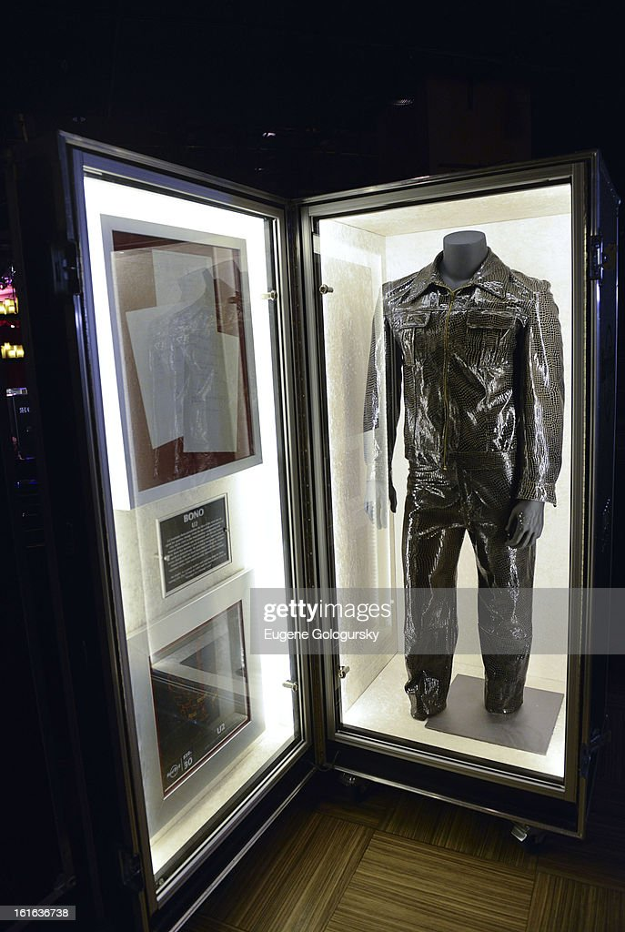 Bono memorabilia at the 'Gone Too Soon' and 'Music Gives Back' Media Preview Day at the Hard Rock Cafe, Times Square on February 13, 2013 in New York City.