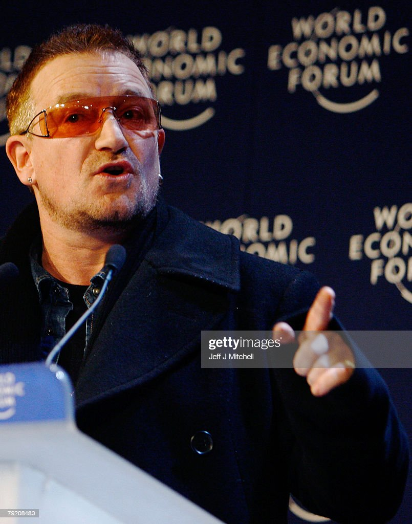 Bono of the rock band U2 attends a press conference during the third day of the World Economic Forum on January 25, 2008 in Davos, Switzerland. Some of the world's top business people, heads of state and representatives of NGOs will meet at the forum until Sunday.