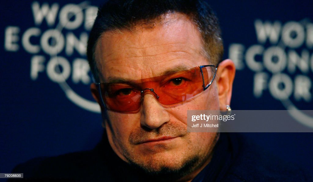 Bono of the rock band U2, attends a press conference during the third day of the World Economic Forum January 25, 2008 in Davos,Switzerland.Some of the World's top business people, heads of state and representatives of NGOs will meet at the forum until Sunday.
