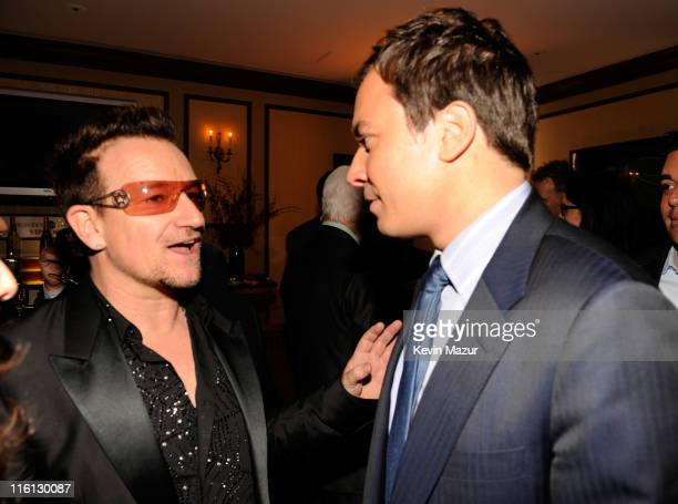Bono of U2 and Jimmy Fallon backstage at 'SpiderMan Turn Off The Dark' Broadway opening night at Foxwoods Theatre on June 14 2011 in New York City