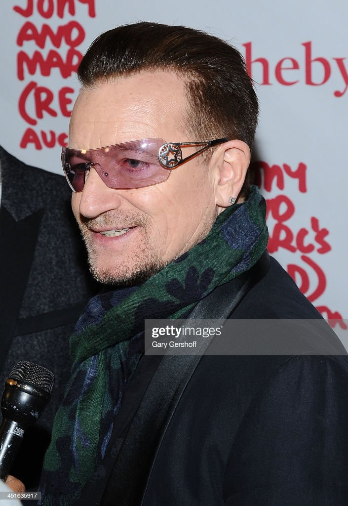 <a gi-track='captionPersonalityLinkClicked' href=/galleries/search?phrase=Bono+-+Singer&family=editorial&specificpeople=167279 ng-click='$event.stopPropagation()'>Bono</a> of U2 attends the 2013 (RED) Auction Celebrating Masterworks Of Design and Innovation at Sotheby's on November 23, 2013 in New York City.