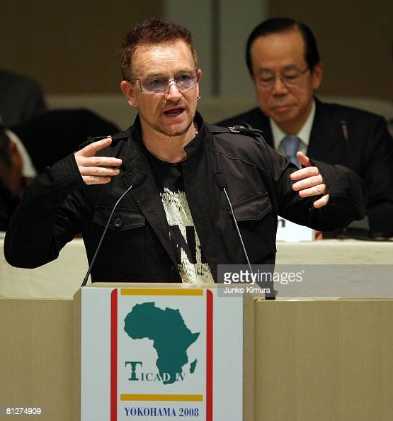 Bono of U2 delivers a speech during the Tokyo International Conference on African Development IV at Pacifico Yokohama on May 29 2008 in Yokohama...