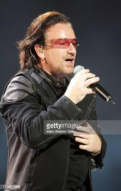 Bono of U2 during U2 'Vertigo' Tour at TD Banknorth Garden in Boston October 3 2005 at TD Banknorth Garden in Boston Massachusetts United States