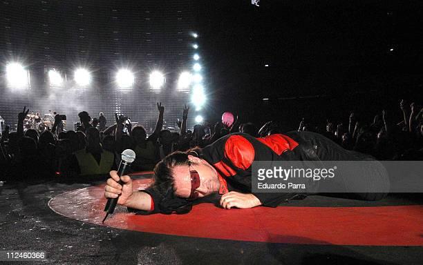 Bono of U2 during U2 'Vertigo' Tour at Vicente Calderon Stadium in Madrid August 11 2005 at Vicente Calderon Stadium in Madrid Spain