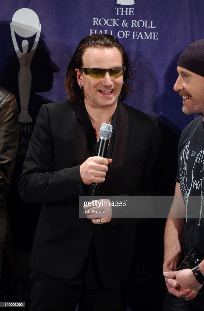Bono of U2, inductee during 20th Annual Rock and Roll Hall of Fame Induction Ceremony - Press Room at Waldorf Astoria Hotel in New York City, New York, United States.