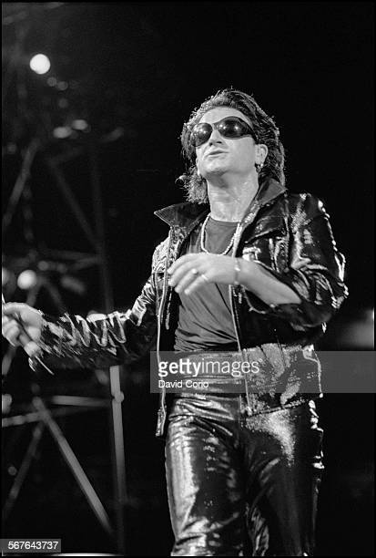 Bono of U2 performing at Giants Stadium New Jersey on 12 August 1992