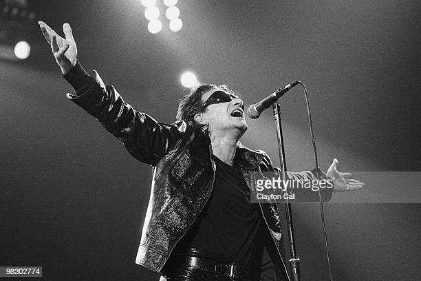 Bono of U2 performing at the Oakland Coliseum on April 17 1992