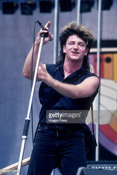 Bono of U2 performing at the US Festival partially financed by Steve Wozniak circa 1983 in Devore California