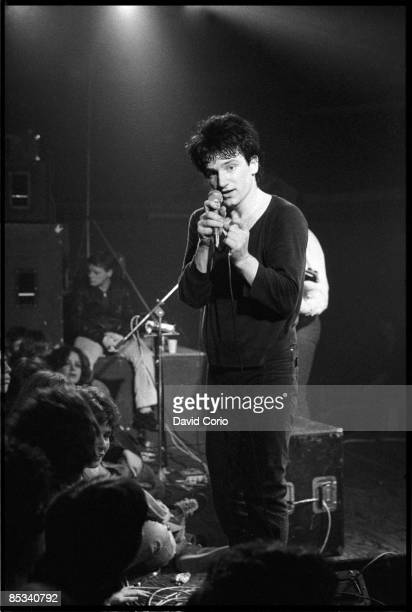 Bono of U2 performing on stage at the Arcadia Ballroom Cork Ireland on 1 March 1980