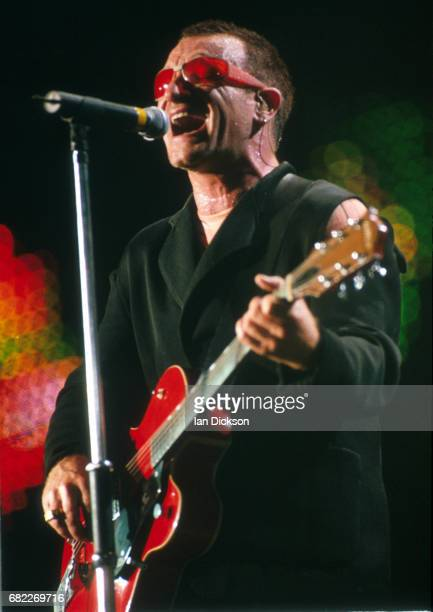 Bono of U2 performing on stage at Wembley Stadium London 22 August 1997