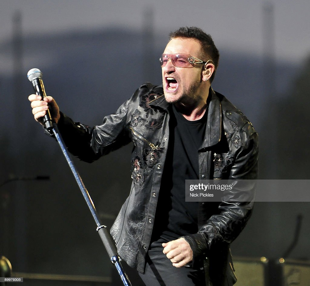 Bono of U2 performs at Don Valley Stadium on August 20, 2009 in Sheffield, England.