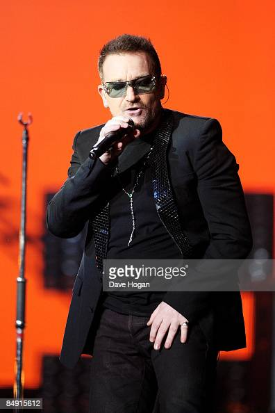 Bono of U2 performs at the Brit Awards 2009 held at Earls Court on February 18 2009 in London England