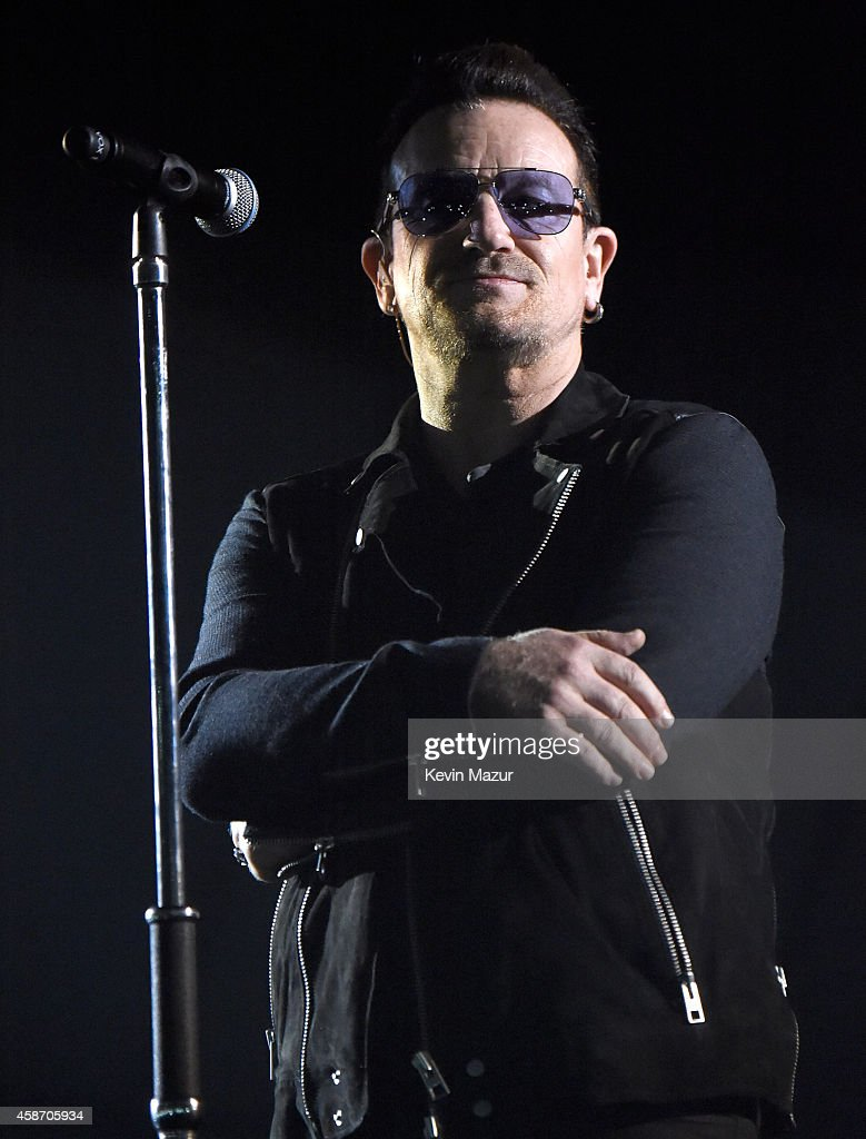 Bono of <a gi-track='captionPersonalityLinkClicked' href=/galleries/search?phrase=U2&family=editorial&specificpeople=201268 ng-click='$event.stopPropagation()'>U2</a> performs at the MTV EMA's 2014 at The Hydro on November 9, 2014 in Glasgow, Scotland.