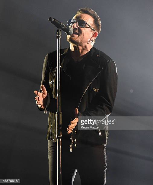 Bono of U2 performs at the MTV EMA's 2014 at The Hydro on November 9 2014 in Glasgow Scotland