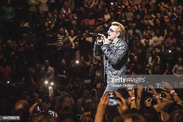 Bono of U2 performs at The O2 Arena on October 25 2015 in London England