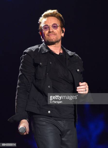 Bono of U2 performs during the 2017 Bonnaroo Arts And Music Festival on June 9 2017 in Manchester Tennessee